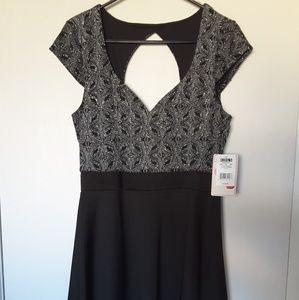 Sweetheart Black & Silver Glitter Dress